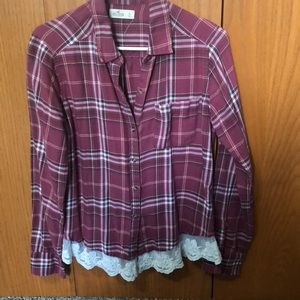 Plaid shirt with lace trim